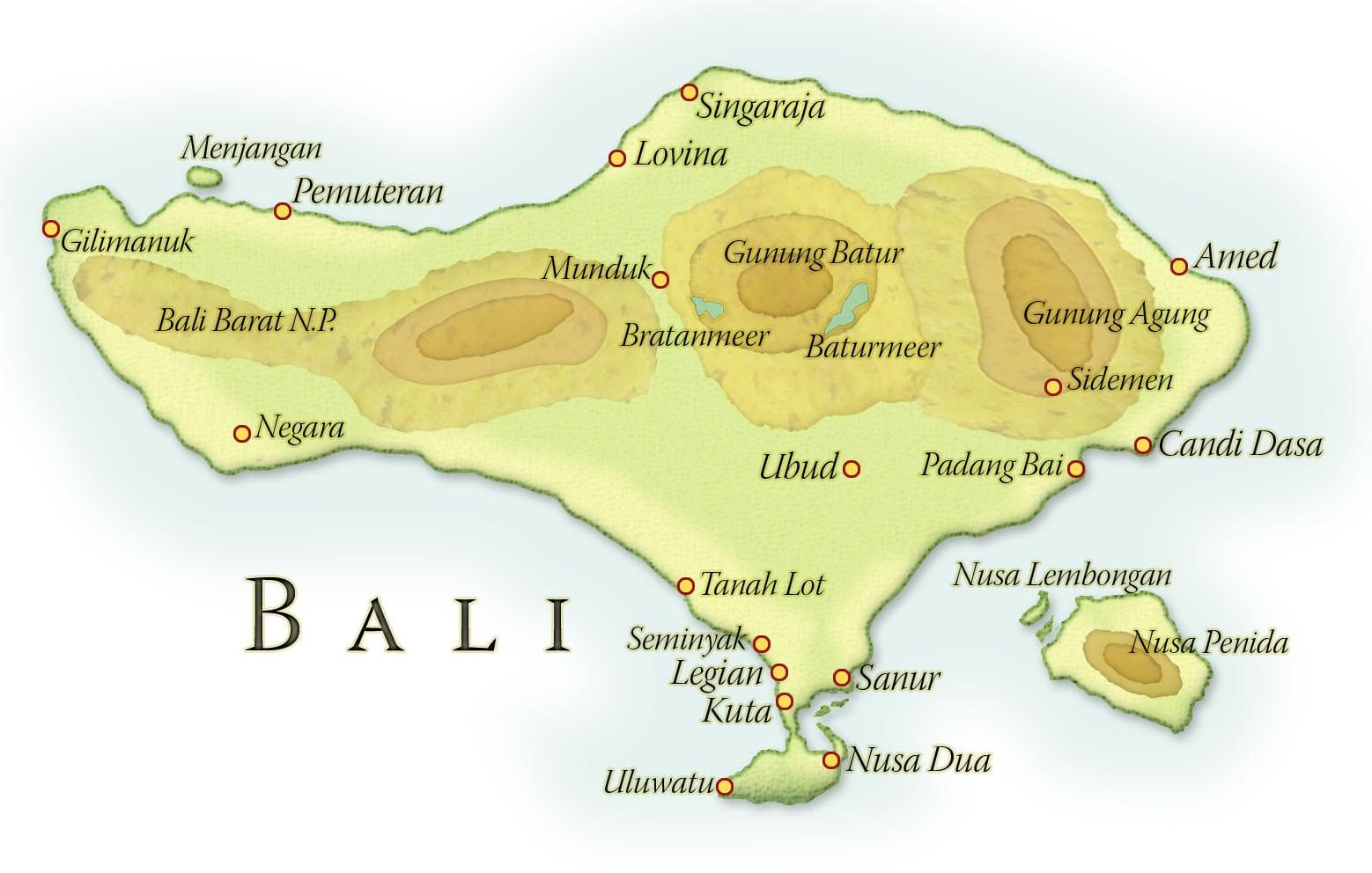 Landkaart Bali