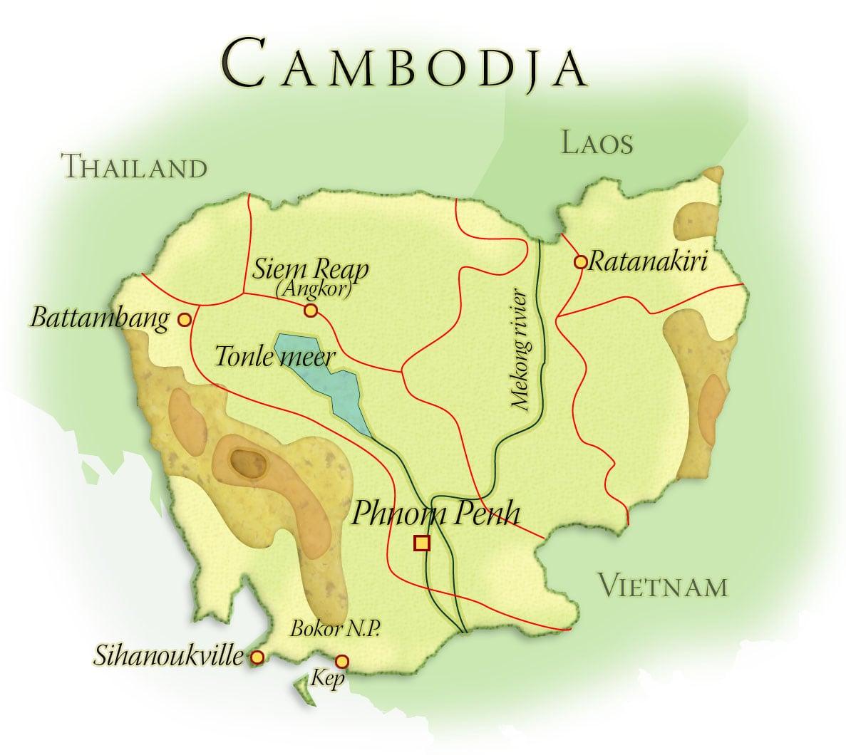 Landkaart Cambodja