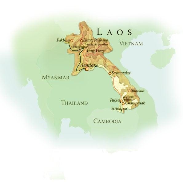 Landkaart Laos