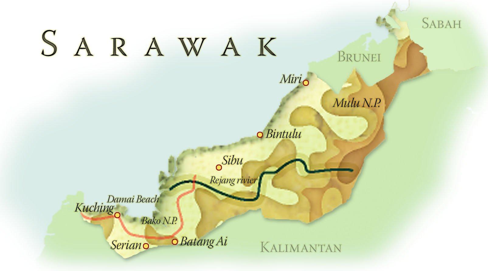 Landkaart Sarawak