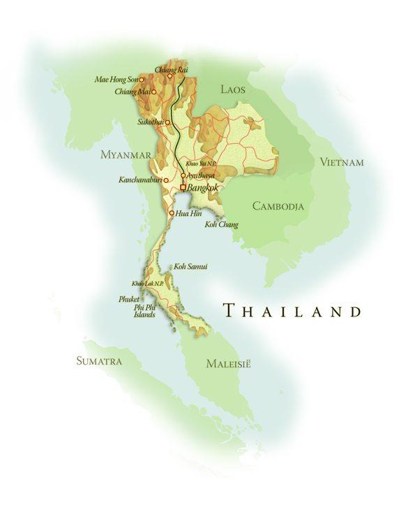 Landkaart Thailand