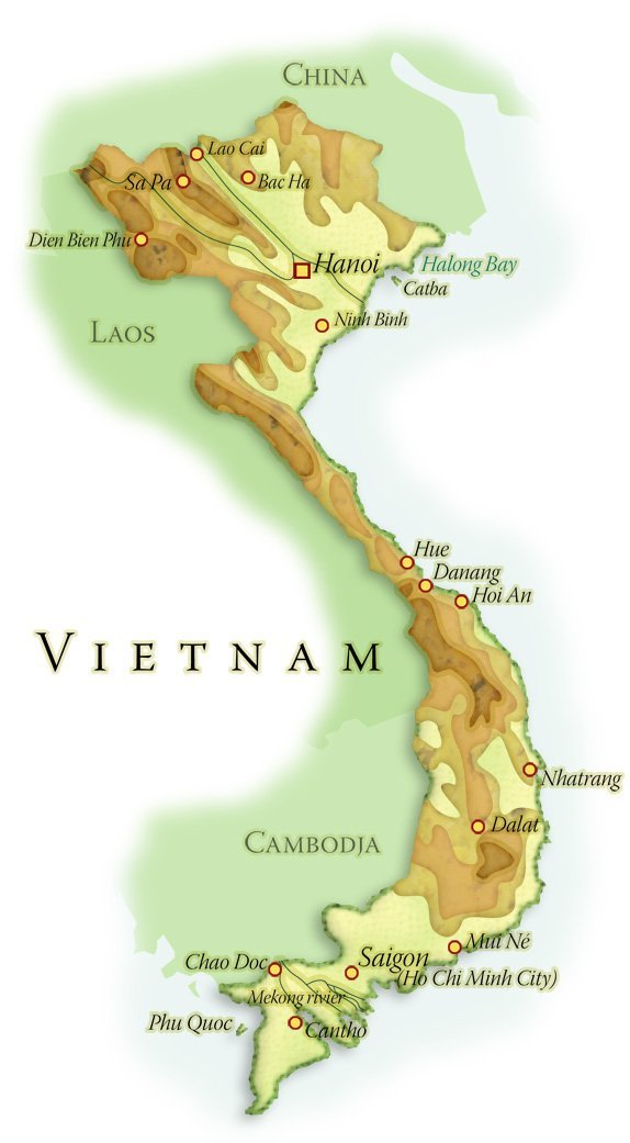 Landkaart Vietnam