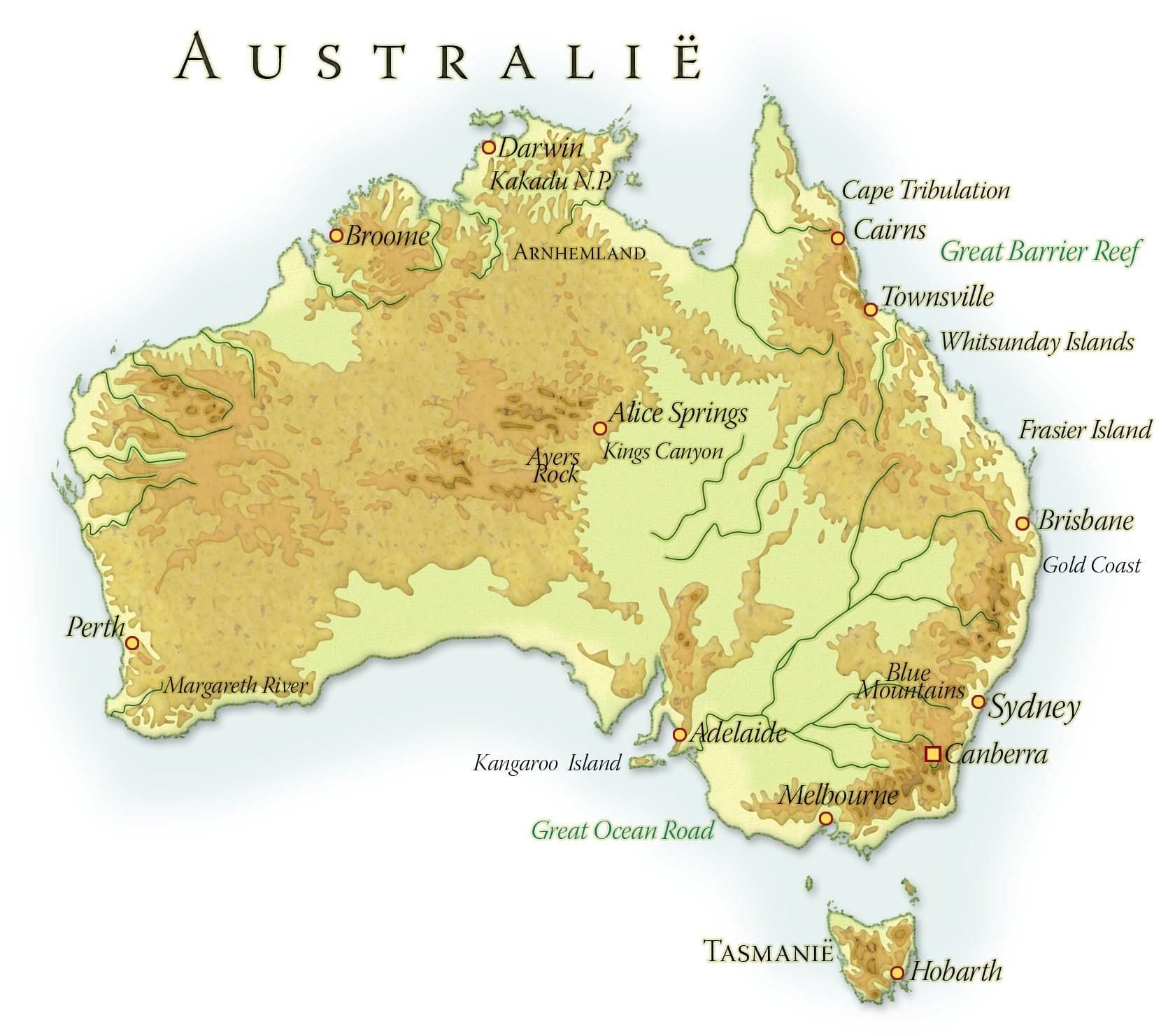 Landkaart Australië
